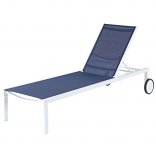 Almo PYTNCHS-W-NVY Peyton Sling Armless Chaise Lounge in White-Navy