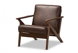 Modern Walnut Wood Dark Brown Distressed Faux Leather Lounge Chair