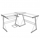 Ryan Rove RR1049 Madison 3-Piece L-Shaped Computer Desk in Silver