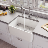 "ALFI ABF2418 24"" White Thin Wall Single Bowl Kitchen Farm Sink"
