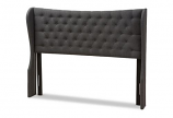 Dark Grey Fabric Button-Tufted Queen Size Winged Headboard