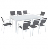 "9-Piece Outdoor Dining Set with 8 Sling Chairs -40""x118"" Dining Table"