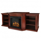 Valmont Entertainment Center Electric Fireplace in Dark Mahogany