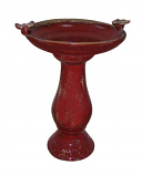 Antique Ceramic Birdbath with 2 Birds - Red