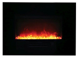"26"" Flush Mount Electric Fireplace w/Black Glass Surround and Log Set"