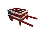 American Flag Wooden Wheel Barrel Planter