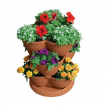 Arett A15-RZJMED0 Stack-A-Pot Medium Clay 3tier Stackable Planter