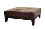 Baxton Studio Dark Brown Large Full Leather Square Cocktail Ottoman