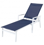Almo HARPCHS-W-NVY Harper Sling Chaise - White-Navy