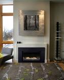 Loft Small Direct-Vent Fireplace Insert, Black Porcelain Liner and Burner, Blower, IP, NG, 20K BTU
