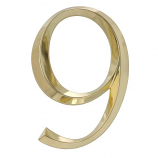 Classic 6 Inch Number  9  Polished Brass