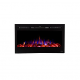 "Sideline 36"" Recessed Mounted Electric Fireplace with Heat - Black"