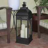 San Nicola Triple LED Candle Lantern - Bronze