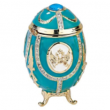 Russian Imperial Eagle Romanov Enameled Eggs Collection - Teal Green
