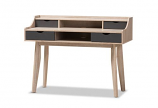 Fella Mid-Century Modern 4-Drawer Oak and Grey Wood Study Desk