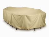 "Two Dogs 144"" Oval/Rectangle Table Set Cover - Khaki"