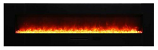 "72"" Flush Mount Electric Fireplace w/Black Glass Surround and Log Set"