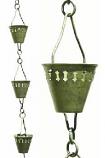 Verdigris Shade Cup Rain Chain-8.5' Full Length