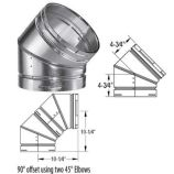 Aluminum 45 Degree Adjustable Elbow - 8 inch