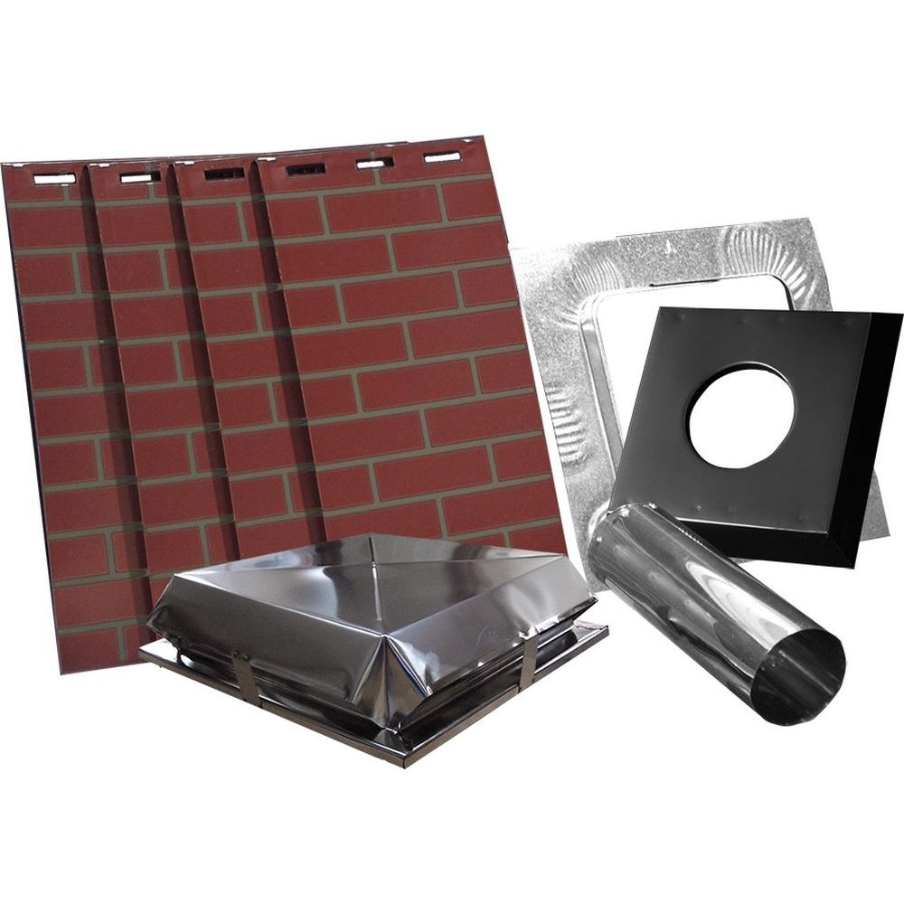 """AirJet Simulated Red Brick All Fuel Chimney Housing Kit - 17x17x60""""H"""