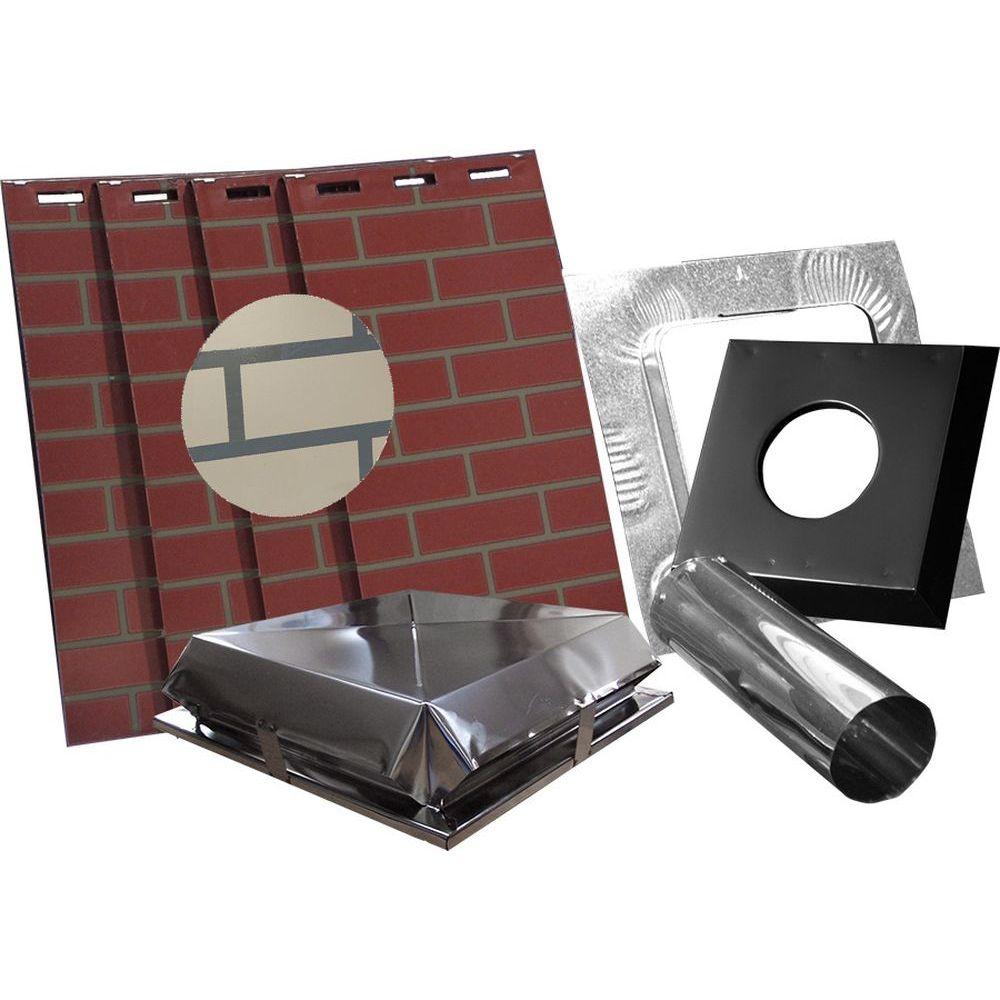 "AirJet Simulated Tan Brick All Fuel Chimney Housing Kit - 17x17x60""H"