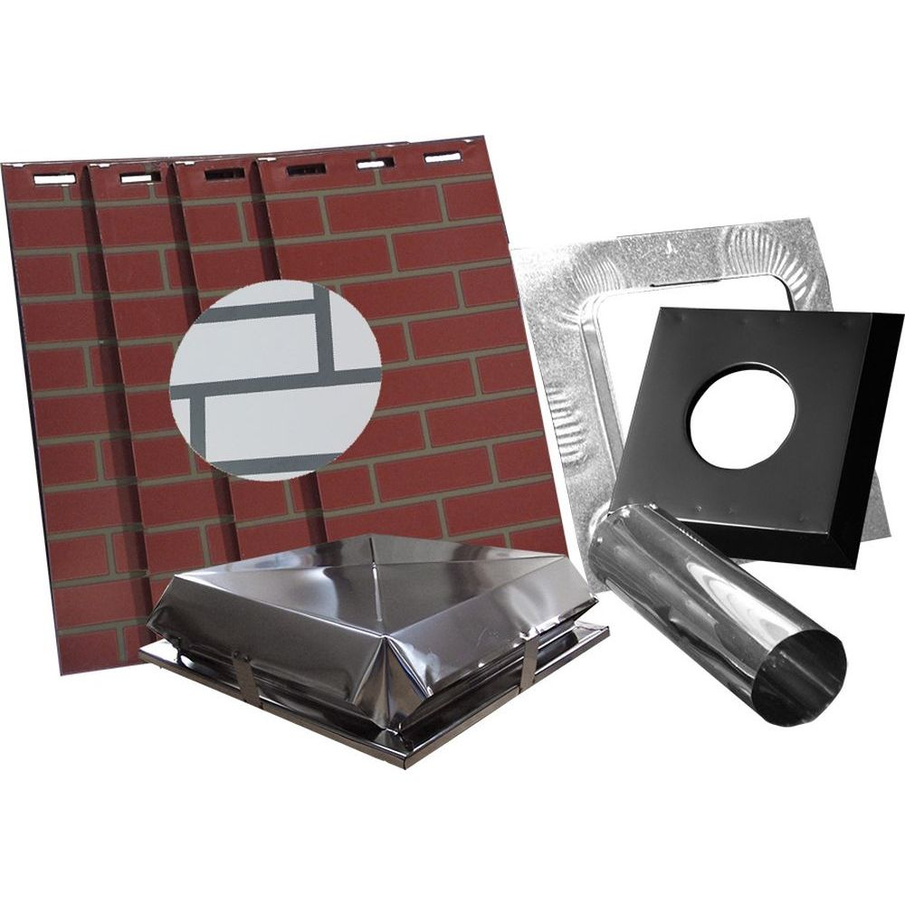 """AirJet Simulated White Brick All Fuel Chimney Housing Kit - 17x17x36""""H"""