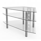 Ryan Rove RR1002 Ruby 44in Corner Glass TV Stand in Silver