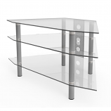 Ryan Rove RR1002 Ruby 44in Corner Glass TV Stand in Silver