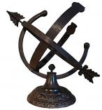 Rome Aluminum Armillary Sundial - Distressed Verdigris