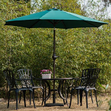 Aluminum Patio Table Umbrella with Push Button Tilt & Crank, DarkGreen