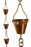 Patina R279 Copper Shade Cup Rain Chain - 8.5'