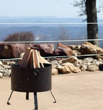 "Buck Stove 18"" Round Diamond Pattern Fire Pit in Black"
