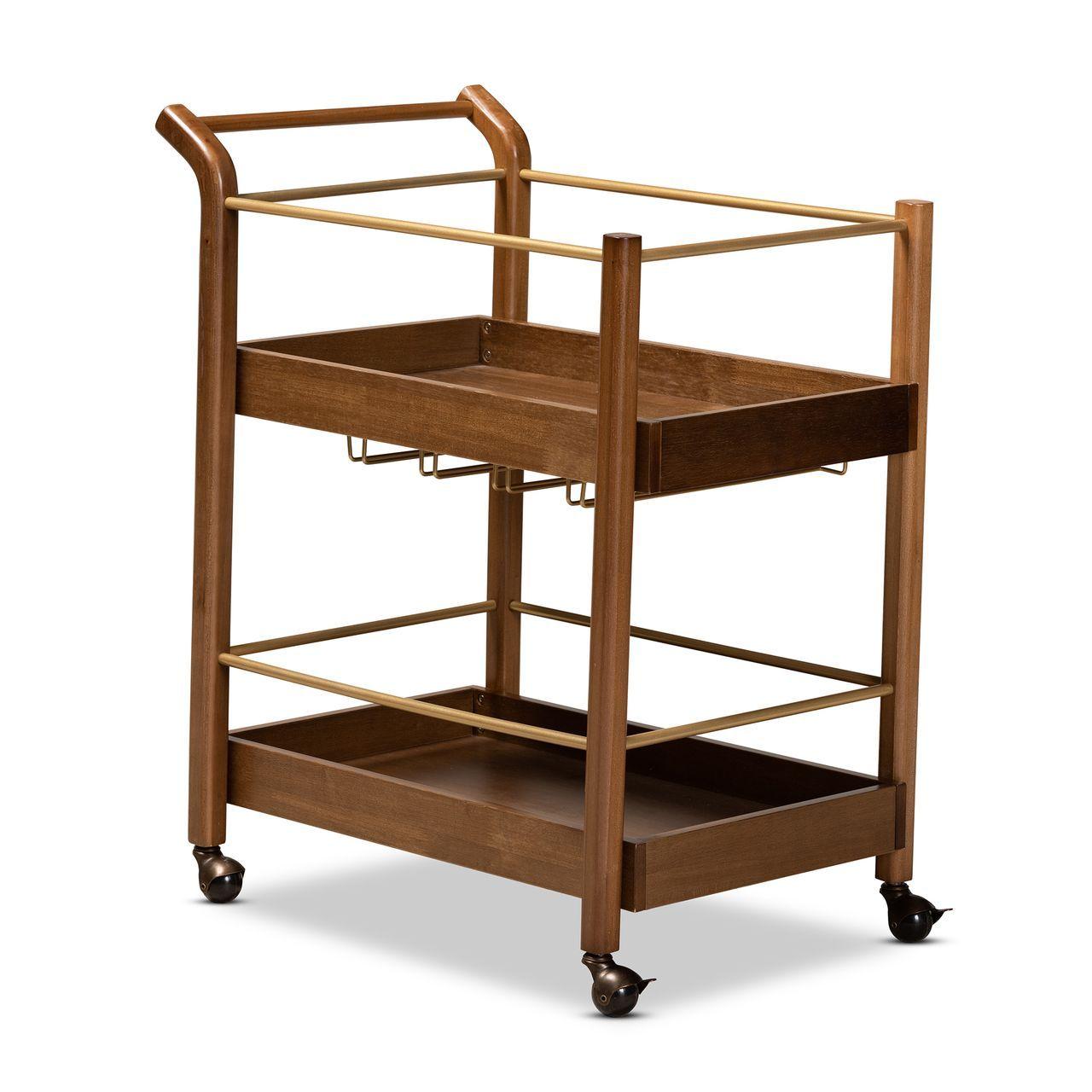 Baxton Studio Tahir Walnut Brown and Gold 2-Tier Mobile Bar Cart