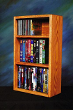Solid Oak desktop or shelf for CD's and DVD's/ VHS Tapes Model 313-1 W