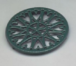 7 1/2'' Shiny Green Enamel Trivet