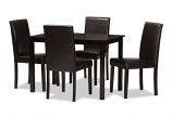 Contemporary Dark Brown Faux Leather Upholstered 5-Piece Dining Set