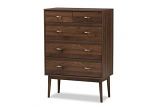 Disa Mid-Century Modern Walnut Brown Finished Wood 5-Drawer Chest