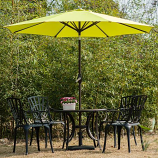 Aluminum Patio Table Umbrella with Push Button Tilt & Crank, LimeGreen