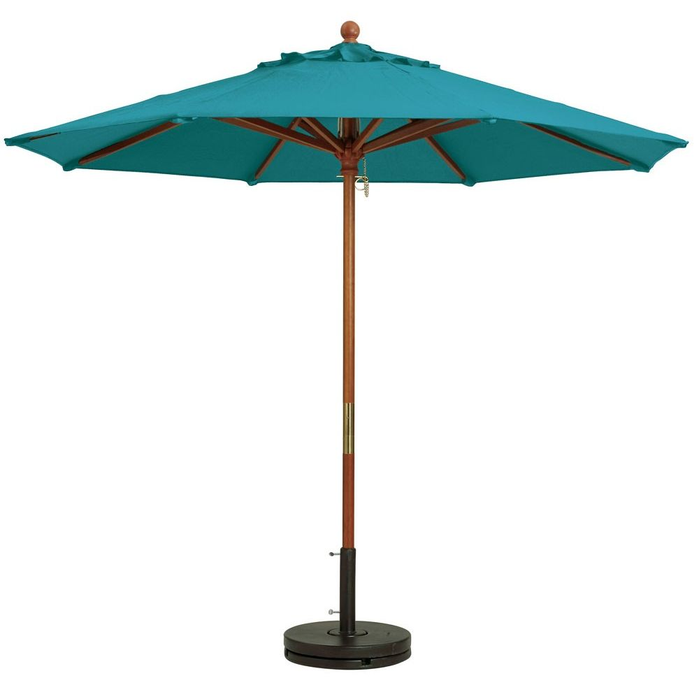 """Grosfillex Market 9ft Wooden Umbrella With 1.5"""" Pole in Turquoise"""
