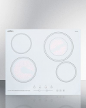 Summit CR4B23T6W 4-Burner (230V) Electric Cooktop in White