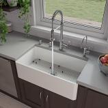 "ALFI ABF3318S 33"" White Thin Wall Single Bowl Kitchen Farm Sink"