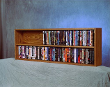 Solid Oak Wall or Shelf Mount DVD/VHS tape/Book Cabinet Model 210-4 W