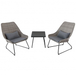 Montauk 3-Piece Wicker Scoop Chat Set with Gray Cushions