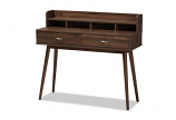 Disa Mid-Century Modern Walnut Brown Finished 2-Drawer Desk