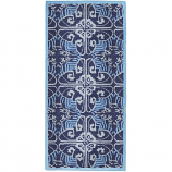 Minuteman Art Deco 56'' x 26'' Rectangular Rug - Prussian Blue