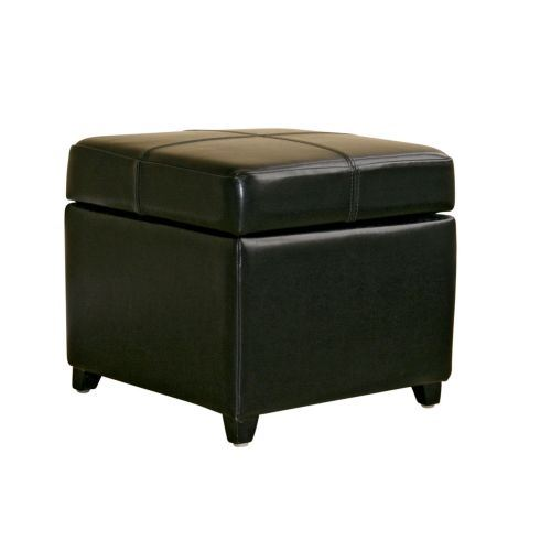 Baxton Studio Pandora Black Leather Small Storage Ottoman