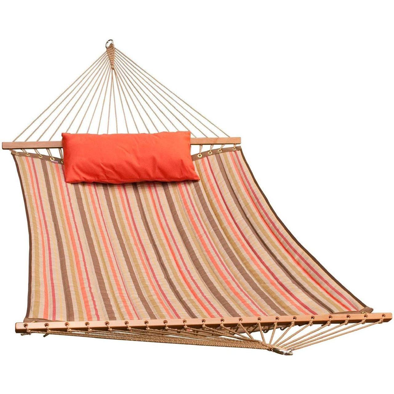 Gleason Reversible Sunbrella Quilted Hammock - Orange/Brown Stripe