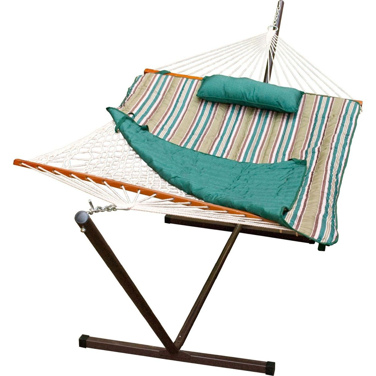 Gleason Cotton Rope Hammock / Pad / Pillow and Stand Combination