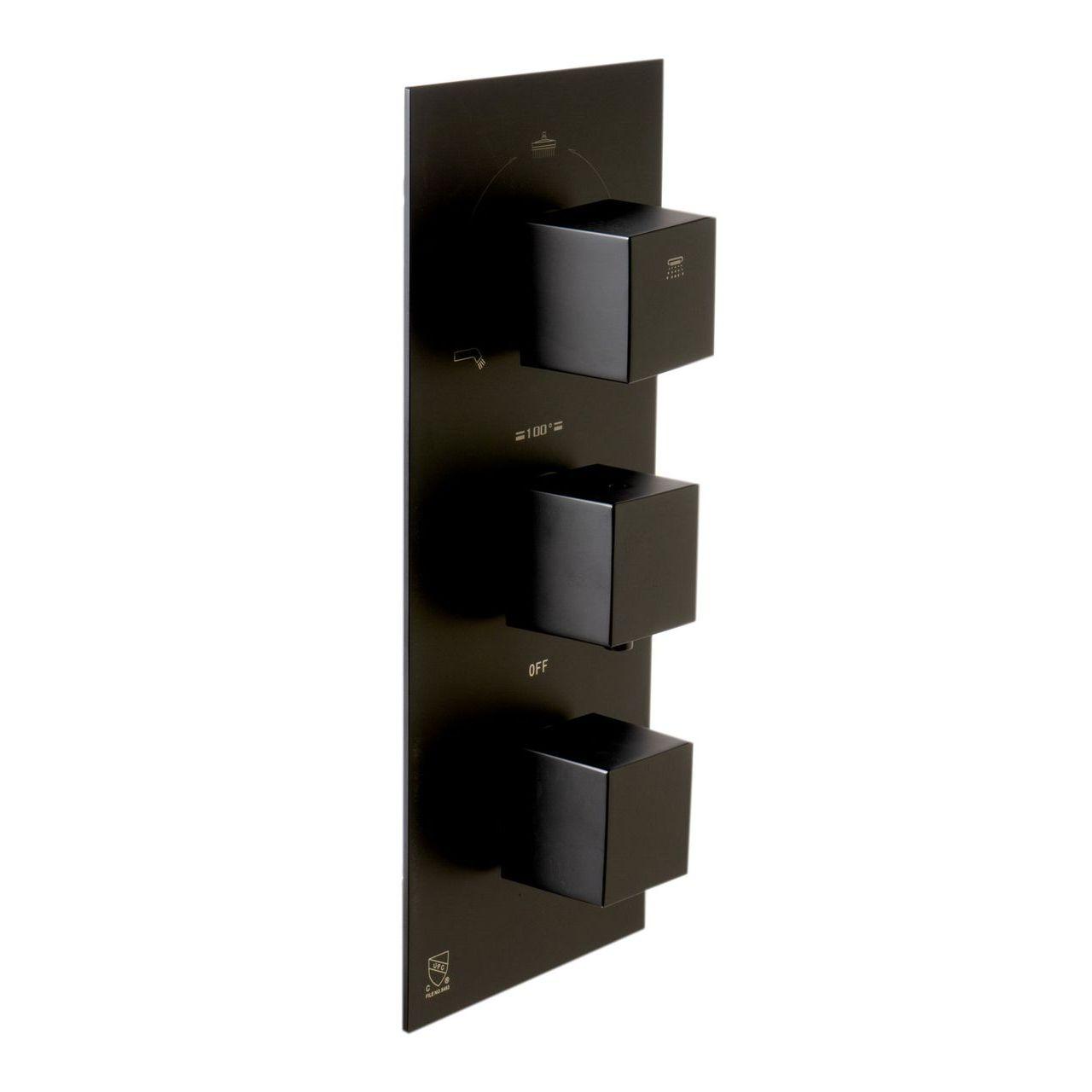 ALFI Black Matte 3-Way Thermostatic Valve Shower Mixer Square Knobs