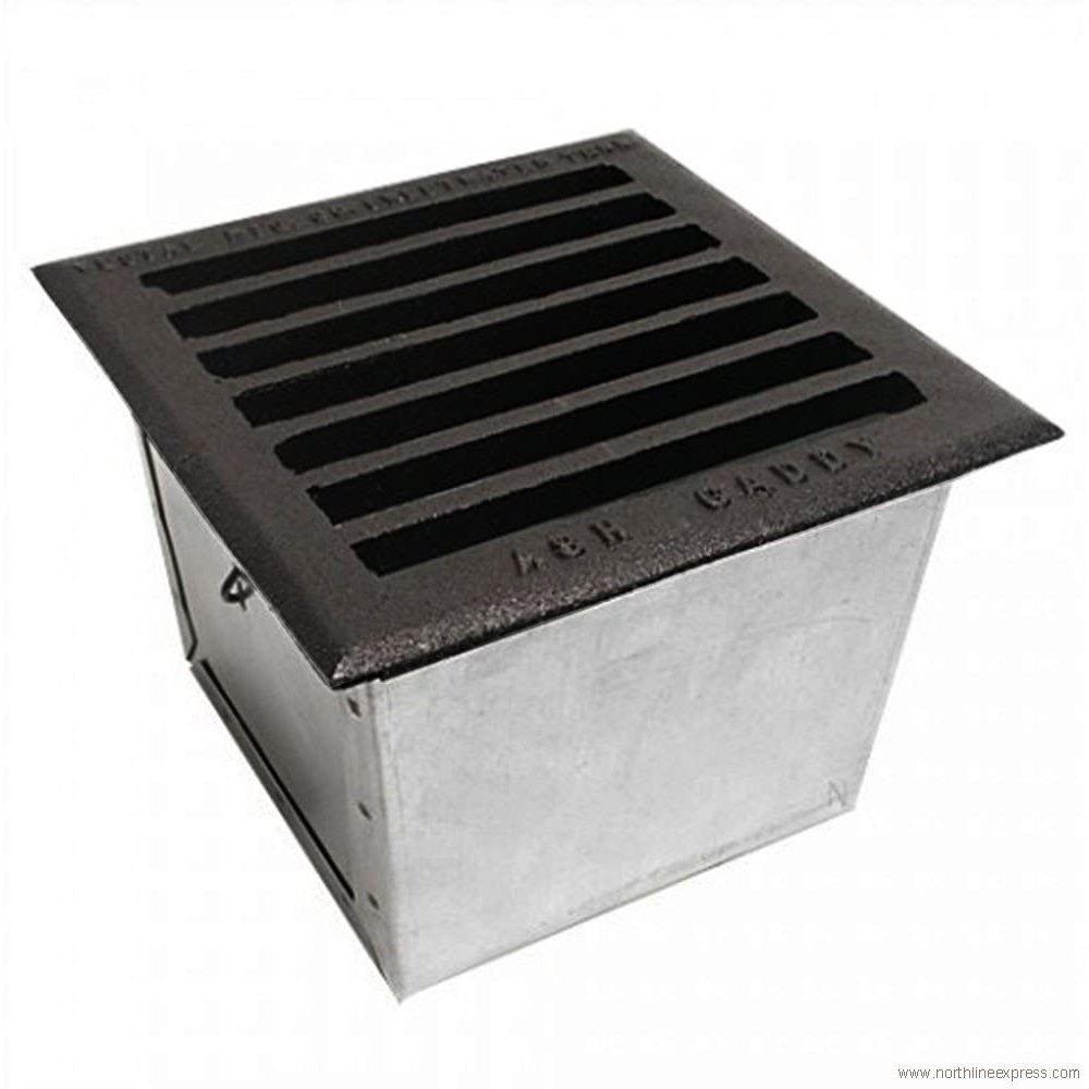 """Vestal Cast Iron Grille Galvanized Pail Ash Caddy - 9.5"""" x 9.5"""""""